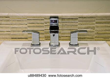 Stock Photography of Sink with contemporary faucet; San Diego ...