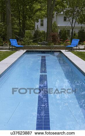 SWIMMING POOLS: looking straight on to lap pool, two bright blue cushioned  lounge chairs, brick step, concrete edging, fish sculpture, black iron ...