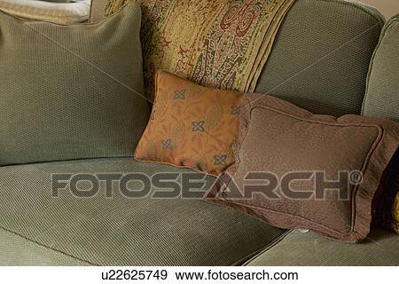 Throw Pillows On Forest Green Sofa Carpinteria California Usa