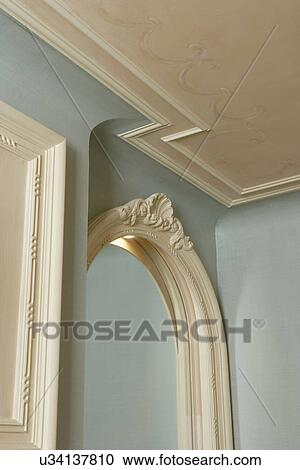 Stock Photography Of Architectural Trim Pale Blue White