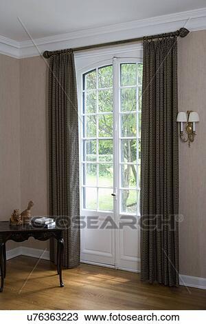 Seriøst Vindu, treatments:, tre, gulv, franske dører, grønn, gardiner II-74