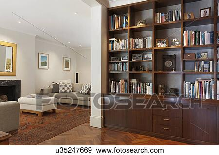 Stock Photograph Of Wall Unit Bookcase Outside Traditional Living