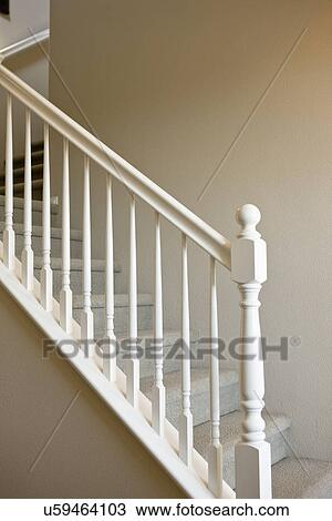 Stock Photo Of White Railing Along Traditional Staircase Tustin