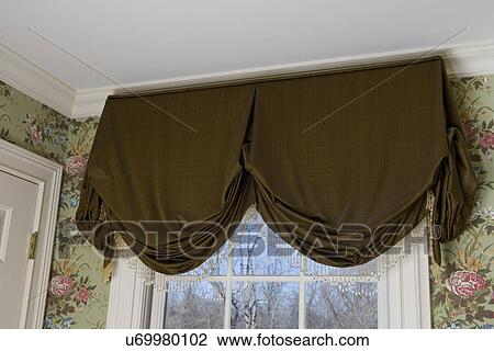 Window Treatments Dark Olive Brown Valance With Beaded