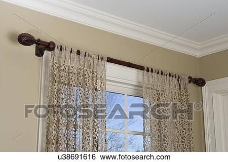 Tab Top Curtains Dark Stained Wood