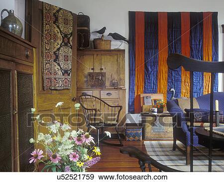 Stock Fotograf - wohnzimmer, -, land lebensunterhalt, zimmer, orange ...
