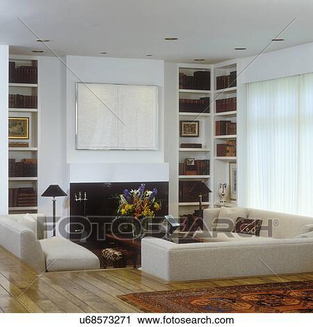 Stock Fotografie - wohnzimmer, -, modernes, creme, sofas, in ...