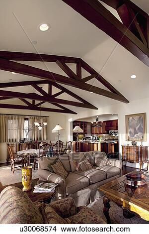Wooden Ceiling Beams In Great Room