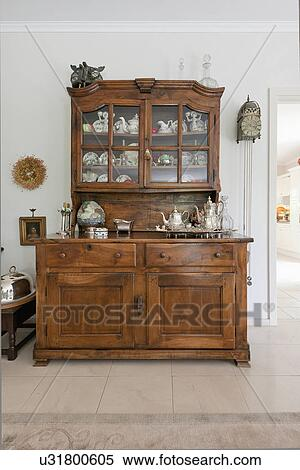 Stock Image Of Wooden Hutch Cupboard In Traditional Home U31800605