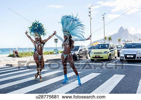 Samba Dancers Stopping Traffic Ipanema Beach Rio De Janeiro Brazil