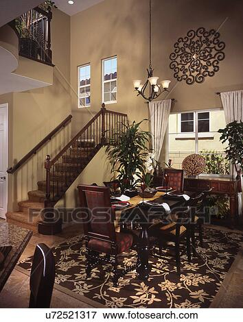 Elegant Dining Area By Staircase