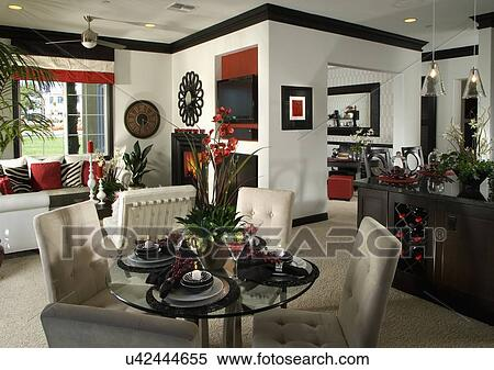 Schwarz, Rot Weiß, Eßecke, Dn, Wohnzimmer