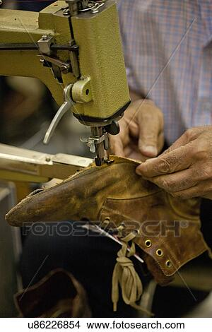 Stock Photo Of Cobbler Sewing Sole Of Boot U40 Search Stock Best Cobbler Sewing Machine