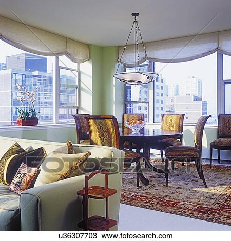 Stock Photo Of View Into Dining Area In High Rise Condo Oriental