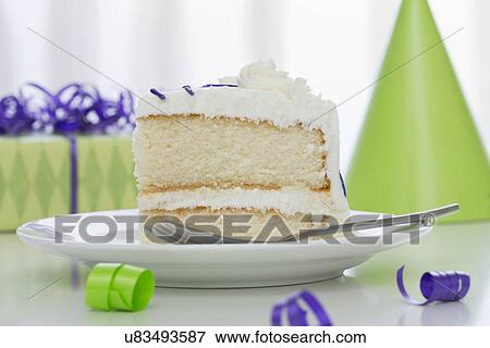 Terrific Piece Of Birthday Cake On Plate Stock Photo U83493587 Fotosearch Personalised Birthday Cards Petedlily Jamesorg