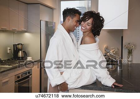 Usa New York City Couple Having Sex On Kitchen Counter Stock Photo