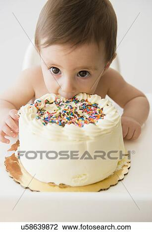 Superb Baby Girl 12 17 Months Eating Birthday Cake Stock Image Funny Birthday Cards Online Alyptdamsfinfo