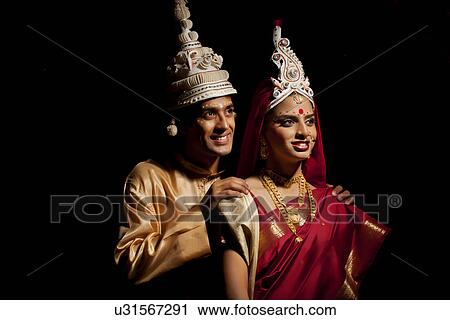 Stock Photography Of Bengali Bride And Groom Thinking About The