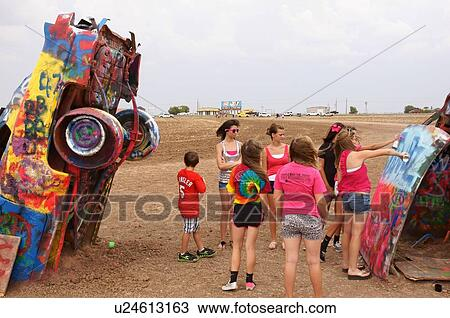 Stock Photo Of Route 66 Cadillac Ranch Amarillo Tx Marsch Texas
