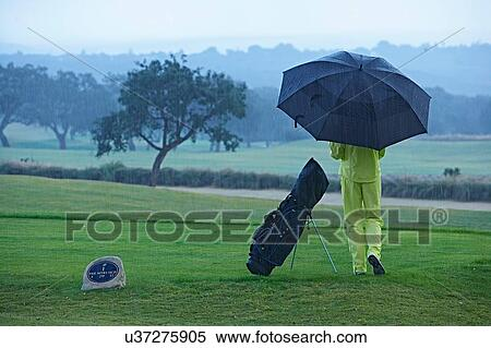 Banques de Photographies - vue postérieure, de, golfeur, côté, sac golf, dans, pluie, tenir étoile. Fotosearch