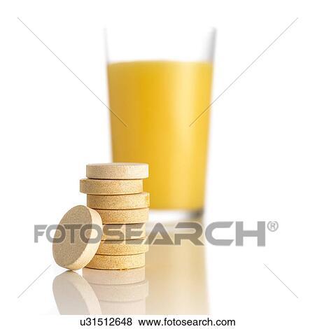 Banque d Illustrations - jus orange, et, vitamine c, tablettes, contre bbb08e3b7d8