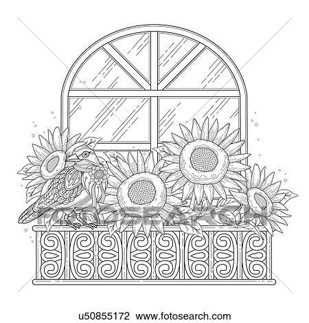 Beautiful sunflowers coloring page Stock Image | u50855172 ...
