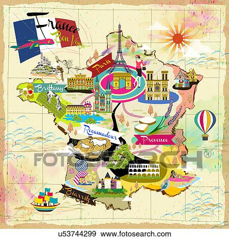 Travel Map Of France.Stock Photograph Of France Travel Map U53744299 Search Stock