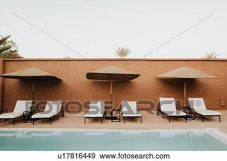 Hotel Pool Douba Morocco Stock Photo