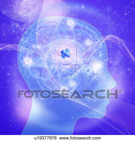Brain atoms, illustration Stock Photograph | u19377976