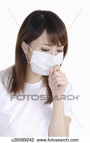 Woman Image Mask And Wearing Sneezing Surgical Young Stock