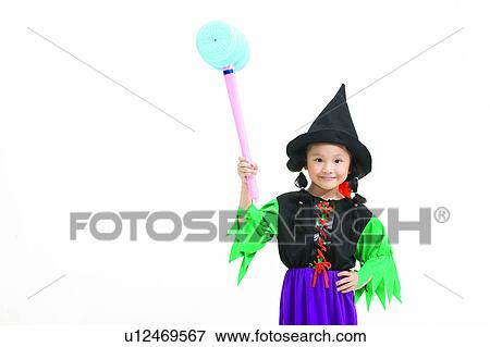 Holding Cut Out Witch White Background Childhood