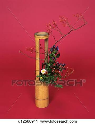 Stock Photography Of Japanese Flower Arrangement In A Bamboo Vase