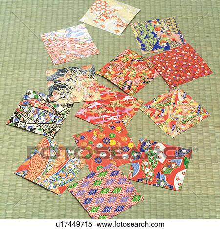 Stock Image Of Origami Papers Spread Out On Tatami Mat High Angle