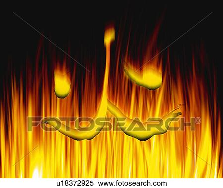 Feuer Auf Japanisch stock bild brennender feuer und japanische zeichen schwarzer