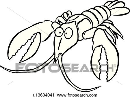 clipart of illustration lineart animal crawfish shellfish rh fotosearch com Office Clip Art Lobster Office Clip Art Lobster