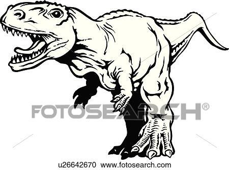 Clipart illustration lineart animal dinosaure - Dessin dinosaure t rex ...