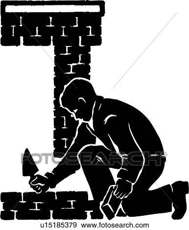clip art of illustration lineart bricklayer brick layer mason rh fotosearch com masonic clipart images free masonic clipart black and white