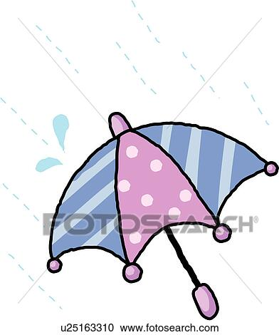 Clipart of rainy, object, wet, rain, umbrella, furniture u25163310 ...