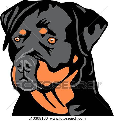 clipart of rottweiler u10308160 search clip art illustration rh fotosearch com rottweiler head clipart rottweiler puppy clipart