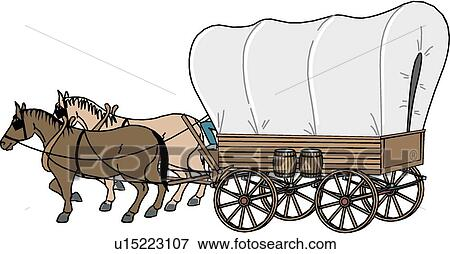 clip art of covered wagon u15223107 search clipart illustration rh fotosearch com Pioneer Wagon Clip Art covered wagon clipart images