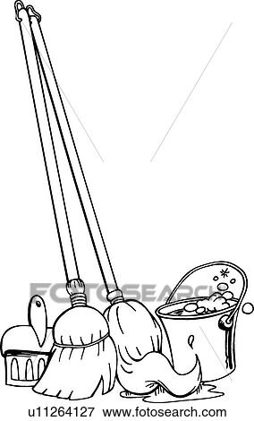 Clip Art Of Mop Broom Bucket U11264127 Search Clipart