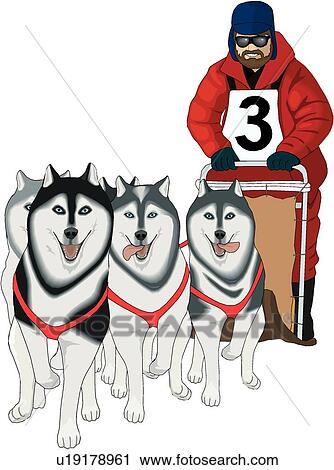 clipart of dog sled u19178961 search clip art illustration murals rh fotosearch com dog sled clipart free dog sled team clipart