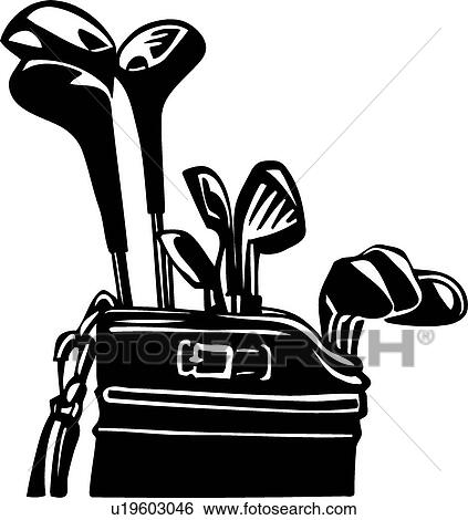 clip art of golf clubs and bag u19603046 search clipart rh fotosearch com Golf Clip Art Golf Course