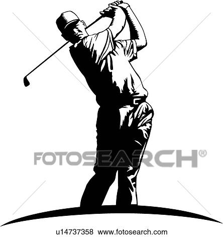clip art of golfer u14737358 search clipart illustration posters rh fotosearch com golf clip art funny golf clip art free