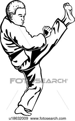 clip art of karate kick u18632009 search clipart illustration rh fotosearch com karate clipart free karate clip art free