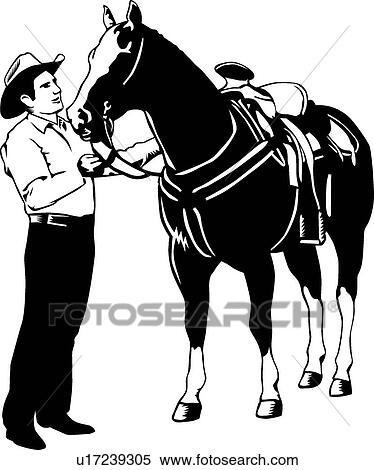 Clipart cheval et cow boy u17239305 recherchez des clip arts des illustrations des - Clipart cheval ...