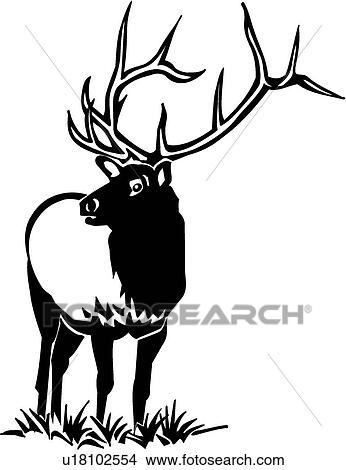 clipart of elk u18102554 search clip art illustration murals rh fotosearch com elk clip art in black and white elk clip art wildlife images