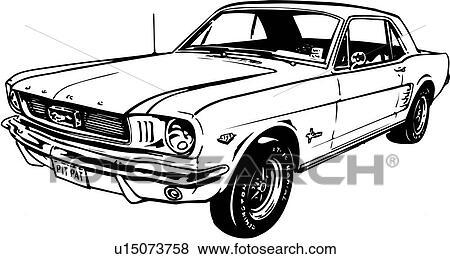Clip Art Of Illustration Lineart Classic Car Auto Automobile - Classic car search
