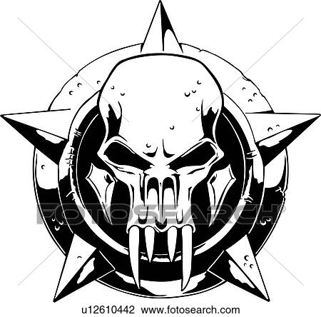 Clipart of skull skulls death doom creepy scary for Mf doom tattoo