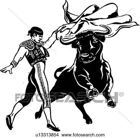 clipart of illustration  lineart  bullfighter  bull Bull Clip Art Matador Logo